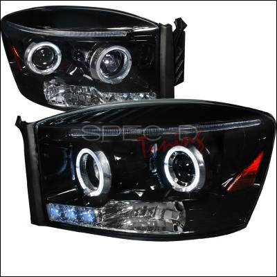 Spec-D - Dodge Ram Spec-D Halo Projector Headlight Gloss - Black Housing - Smoke Lens - 2LHP-RAM06G-TM