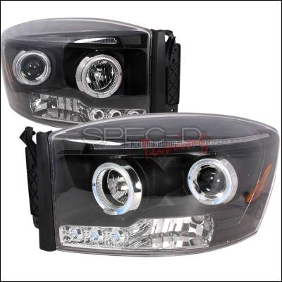 Spec-D - Dodge Ram Spec-D Halo LED Projector Headlights - Black - 2LHP-RAM06JM-TM
