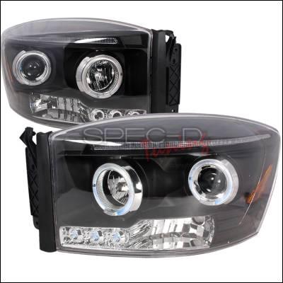 Spec-D - Dodge Ram Spec-D Halo LED Projector Headlights - Black - 2LHP-RAM06JM-TM