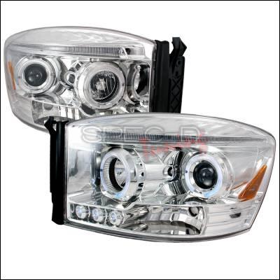 Spec-D - Dodge Ram Spec-D Halo LED Projector Headlights - Chrome - 2LHP-RAM06-TM