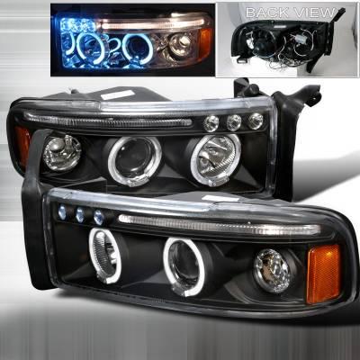 Spec-D - Dodge Ram Spec-D Halo LED Projector Headlights - Black - 2LHP-RAM94JM-TM