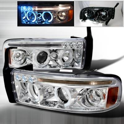 Spec-D - Dodge Ram Spec-D Halo LED Projector Headlights - Chrome - 2LHP-RAM94-TM