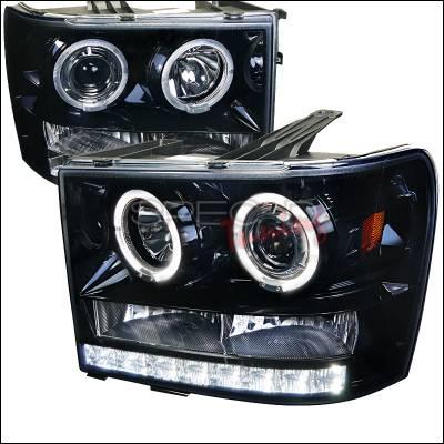 Spec-D - GMC Sierra Spec-D Projector Headlight Gloss - Black Housing with Smoked Lens - 2LHP-SIE07G-TM