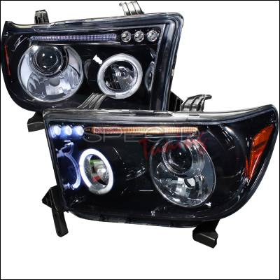 Spec-D - Toyota Tundra Spec-D Black Housing Projector Headlights - Smoked Lens Gloss - 2LHP-TUN07G-TM