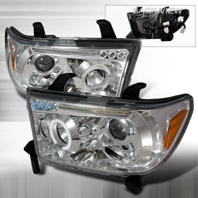 Spec-D - Toyota Tundra Spec-D Halo LED Projector Headlights - Chrome - 2LHP-TUN07-TM