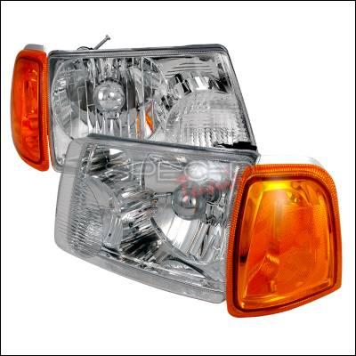 Spec-D - Ford Ranger Spec-D Crystal Housing Headlights - Chrome - 2LH-RAN01-KS