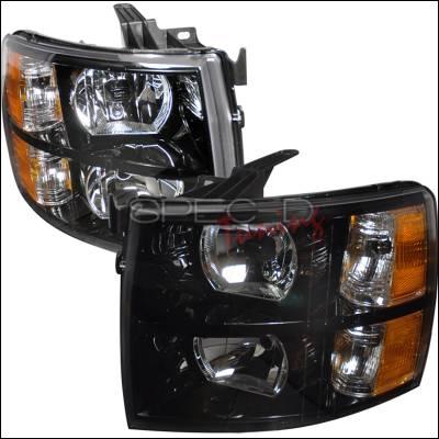 Spec-D - Chevrolet Silverado Spec-D Crystal Housing Headlights - Black - 2LH-SIV07JM-DP