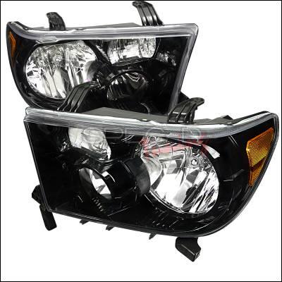 Spec-D - Toyota Tundra Spec-D Euro Headlights - Black Housing - 2LH-TUN07JM-DP