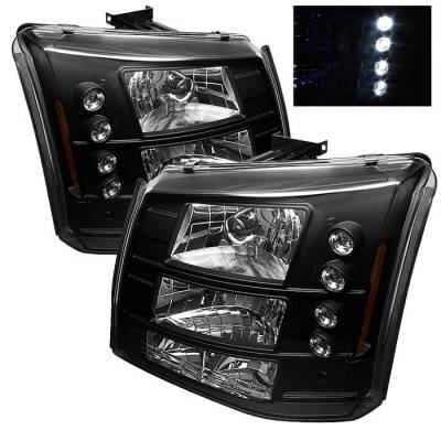 Spyder - Chevrolet Silverado Spyder LED Crystal Headlights - Black - 333-CS03-1PC-AM-BK