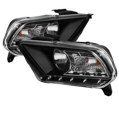 Spyder - Ford Mustang Spyder DRL LED Crystal Headlights - Black - 333-FM2010-DRL-BK