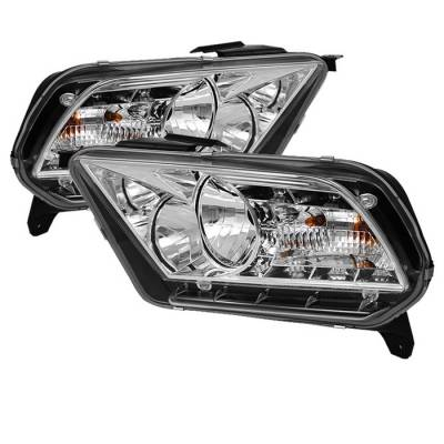 Spyder - Ford Mustang Spyder DRL LED Crystal Headlights - Chrome - 333-FM2010-DRL-C