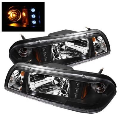 Spyder - Ford Mustang Spyder LED Crystal Headlights - Black - 333-FM87-1PC-LED-BK