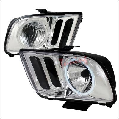 Spec-D - Ford Mustang Spec-D Crystal Housing Headlights - Chrome - 3LH-MST05-KS