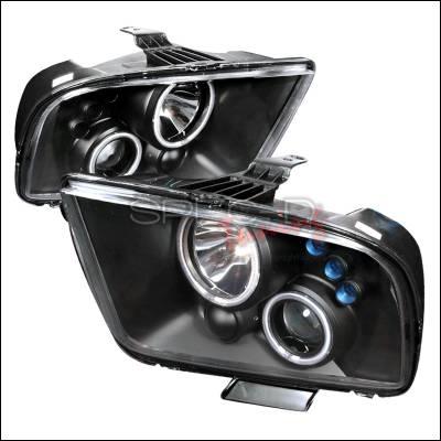 Spec-D - Ford Mustang Spec-D CCFL Halo Projector Headlights - Black - 3LHP-MST05JM-KS
