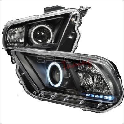 Spec-D - Ford Mustang Spec-D CCFL Halo Projector Headlights - Black - 3LHP-MST10JM-KS