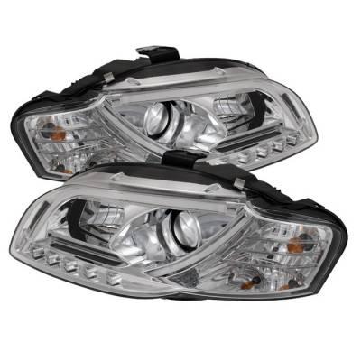 Spyder - Audi A4 Spyder Light Tube DRL LED Projector Headlights - Chrome - 444-AA405-LTDRL-G2-C