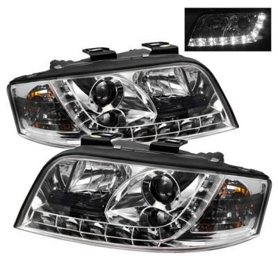 Spyder - Audi A6 Spyder Projector Headlights DRL - Chrome - 444-ADA601-DRL-C