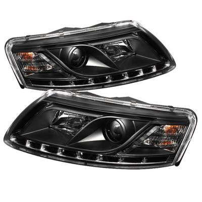Spyder - Audi A6 Spyder Projector Headlights DRL - Black - 444-ADA605-DRL-BK