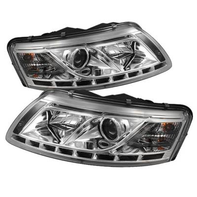 Spyder. - Audi A6 Spyder Projector Headlights - Xenon HID Model Only DRL - Chrome - 444-ADA605-HID-DRL-C