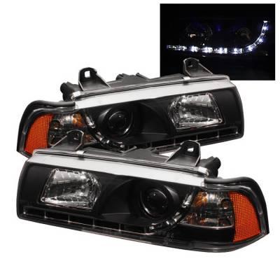 Spyder - BMW 3 Series 4DR Spyder Projector Headlights - DRL - Black - 444-BMWE36-4D-DRL-BK