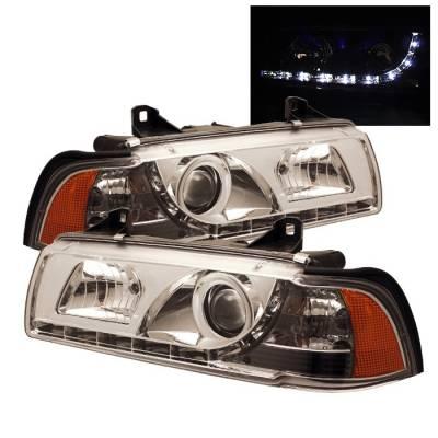 Spyder. - BMW 3 Series 4DR Spyder Projector Headlights - DRL - Chrome - 444-BMWE36-4D-DRL-C