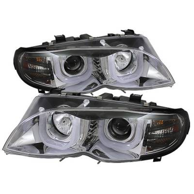 Spyder - BMW 3 Series 4DR Spyder Projector Headlights - 3D Halo - Chrome - 444-BMWE4602-4D-3DDRL-C