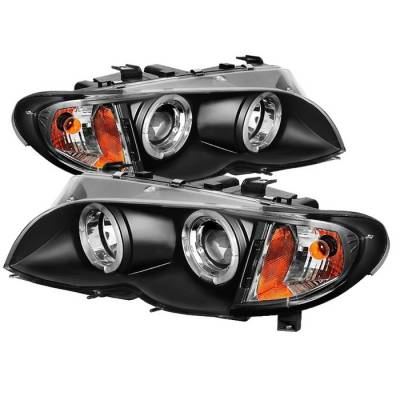 Spyder - BMW 3 Series 4DR Spyder Projector Headlights - LED Halo - Black - 444-BMWE4602-4D-AM-BK
