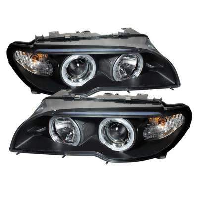 Spyder - BMW 3 Series 2DR Spyder Halo LED - Projector Headlights - Black - 1PC - 444-BMWE4604-2DR-HL-BK