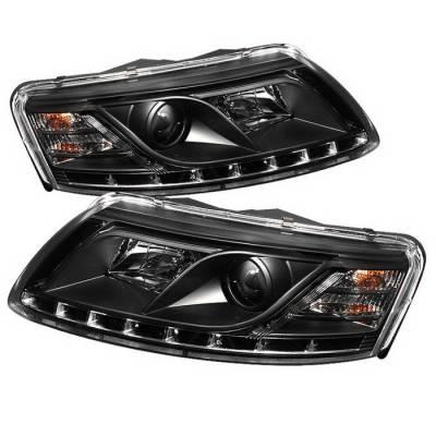 Spyder Auto - Audi A6 Spyder Daytime Running LED Projector Headlights - Black - 444-BMWE46-2D-HL-C