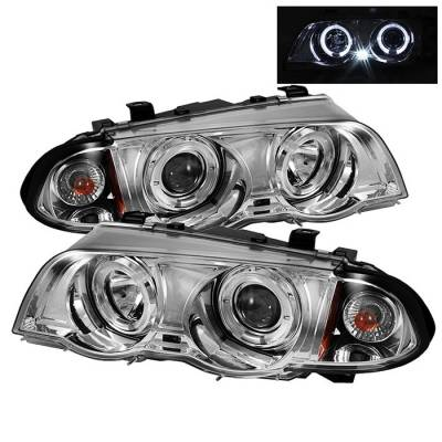 Spyder - BMW 3 Series 4DR Spyder Projector Headlights - LED Halo - Amber Reflector - Chrome - 444-BMWE46-4D-HL-AM-C