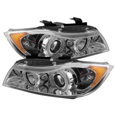Spyder - BMW 3 Series 4DR Spyder Projector Headlights - CCFL Halo - Replaceable Eyebrow Bulb - Chrome - 444-BMWE9005-CCFL-C
