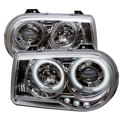 Spyder - Chrysler 300 Spyder Projector Headlights - CCFL Halo - LED - Chrome - 444-C300C-CCFL-C
