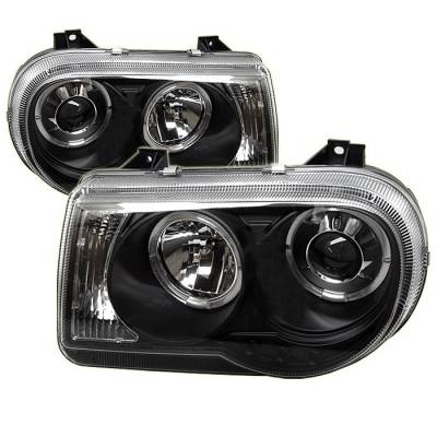 Spyder - Chrysler 300 Spyder Projector Headlights - LED Halo - LED - Black - 444-C300C-HL-BK