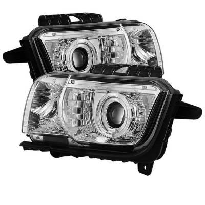 Spyder. - Chevrolet Camaro Spyder Projector Headlights Dual Halo - LED Halo - Chrome - 444-CCAM2010-HL-C
