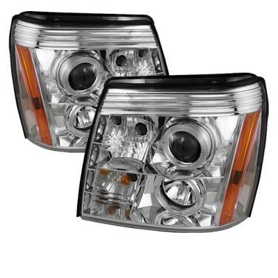 Spyder - Cadillac Escalade Spyder Projector Headlights LED Halo - DRL - Chrome - 444-CE02-DRL-C