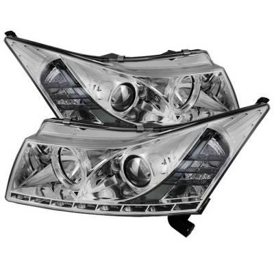 Spyder Auto - Chevrolet Cruze Spyder Daytime Running LED Projector Headlights - Chrome - 444-CHIP06-HL-SM