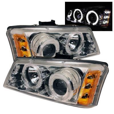 Spyder - Chevrolet Silverado Spyder Projector Headlights - LED Halo - LED - Amber Reflector - Chrome - 444-CS03-AM-C