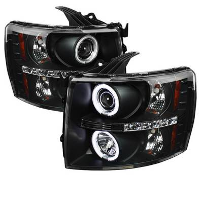 Spyder - Chevrolet Silverado Spyder Projector Headlights - CCFL Halo - LED - Black - 444-CS07-CCFL-BK