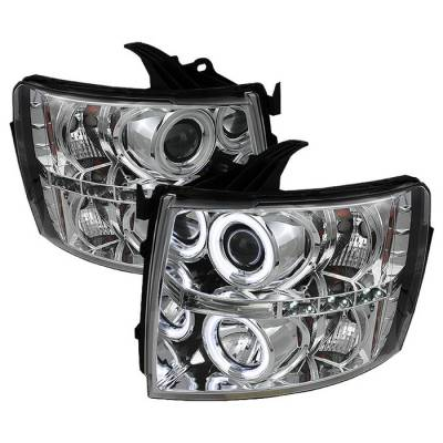 Spyder - Chevrolet Silverado Spyder Projector Headlights - CCFL Halo - LED - Chrome - 444-CS07-CCFL-C