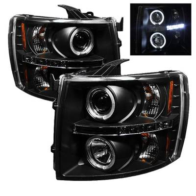 Spyder - Chevrolet Silverado Spyder Projector Headlights - LED Halo - LED - Black - 444-CS07-HL-BK