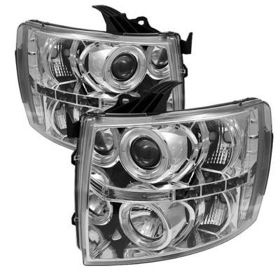 Spyder - Chevrolet Silverado Spyder Projector Headlights - LED Halo - LED - Chrome - 444-CS07-HL-C
