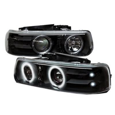 Spyder - Chevrolet Tahoe Spyder Projector Headlights - CCFL Halo - LED - Black - 444-CS99-CCFL-BK
