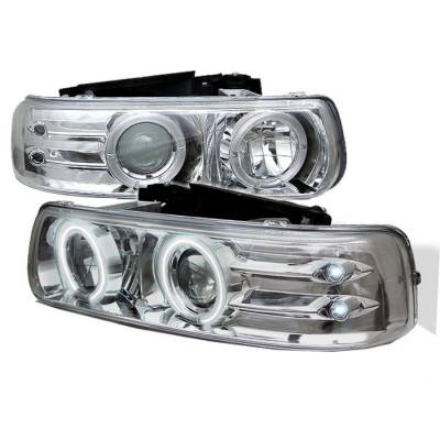 Spyder - Chevrolet Tahoe Spyder Projector Headlights - CCFL Halo - LED - Chrome - 444-CS99-CCFL-C