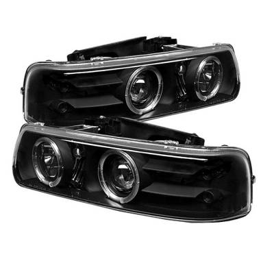 Spyder - Chevrolet Tahoe Spyder Projector Headlights - LED Halo - LED - Black - 444-CS99-HL-BK