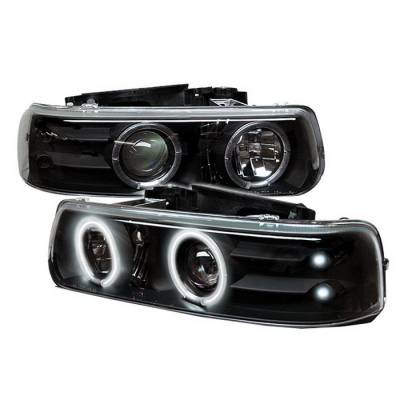 Spyder Auto - Chevrolet Silverado Spyder CCFL LED Projector Headlights - Black - 444-DCH11-LTDRL-BK