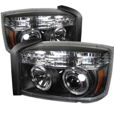Spyder - Dodge Dakota Spyder Projector Headlights - LED Halo - Black - 444-DDAK05-BK