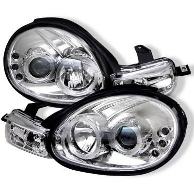 Spyder - Dodge Neon Spyder Projector Headlights - LED Halo - LED - Chrome - 444-DN00-HL-C