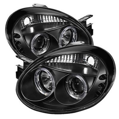 Spyder - Dodge Neon Spyder Projector Headlights - LED Halo - LED - Black - 444-DN03-HL-BK