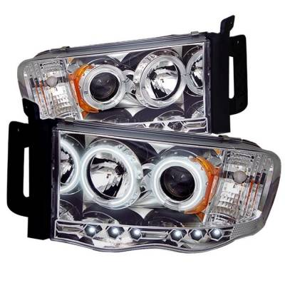 Spyder - Dodge Ram Spyder Projector Headlights - CCFL Halo - LED - Chrome - 444-DR02-CCFL-C