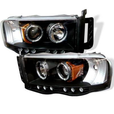 Spyder - Dodge Ram Spyder Projector Headlights - LED Halo - LED - Black - 444-DR02-HL-BK
